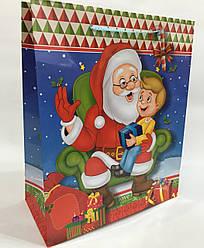 Пакет подарочный Дед Мороз (12 шт упаковка) ассорти средний