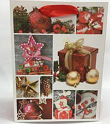 Пакет подарочный Новый год (12 шт упаковка) ассорти средний