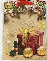 Пакет подарочный Новогодние подарки (12 шт упаковка) средний