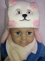 Зимняя шапка для девочки с шарфом