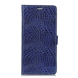 Чехол книжка для Lenovo K8 боковой с отсеком для визиток, Крокодиловая кожа, синий