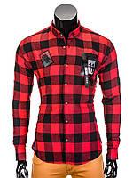 Мужская в клетку Рубашка R369 L, Красный