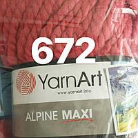 Пряжа для ручного вязания YarnArt Alpine Maxi (Альпин макси) толстая зимняя пряжа  нитки 672 коралловый