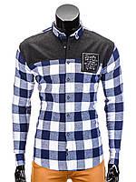 Мужская в клетку Рубашка R371 M, Синий