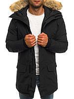 Парка куртка мужская зимняя с капюшоном чёрная Киев