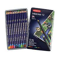 Набор чернильных карандашей, 12 цветов, металлический пенал, Inktense, Derwent, 0700928
