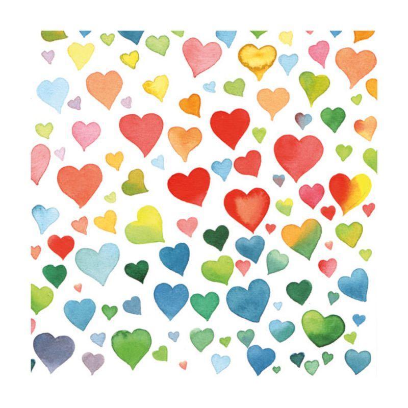 """Декупажная салфетка """"Акварельные цветные сердца"""", 33*33 см, 18 г/м2, Ambiente, 13309090"""