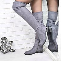 Сапоги женские ботфорты Bonitta серый ЗИМА 3825, зимняя обувь