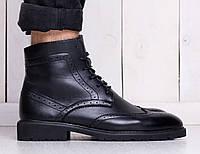 Мужские кожаные ботинки броги на зиму черные (реплика)