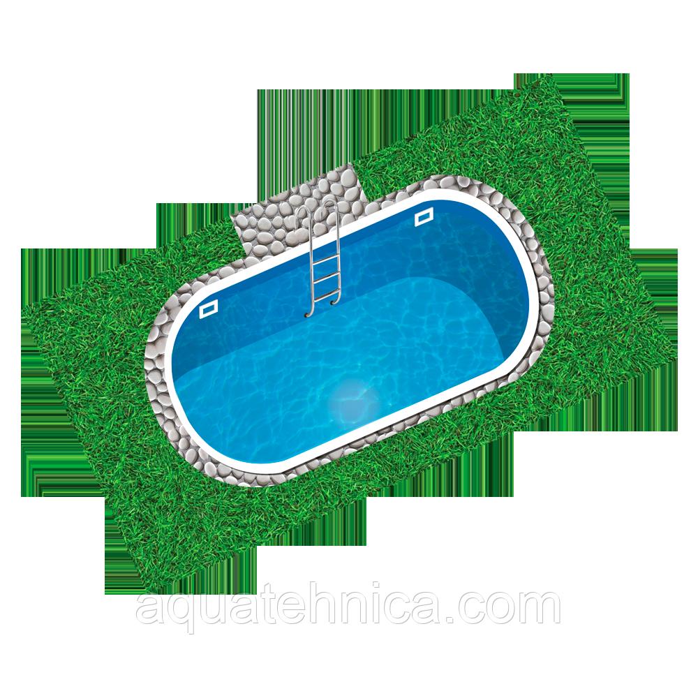 Бассейн пластиковый 7,8 х 3,8 х 1,5 полипропиленовый овальный скиммерный
