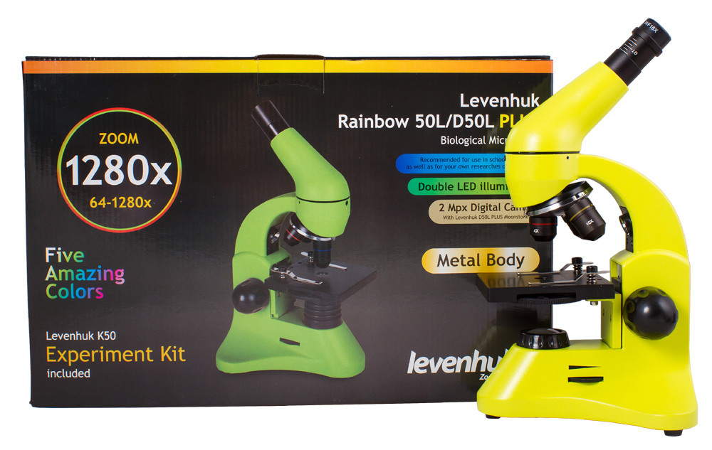 Микроскоп Levenhuk Rainbow 50L Plus Lime/Лайм