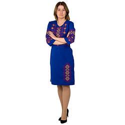 Синие женское платье с вышивкой Орнамент