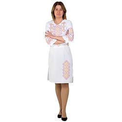 Белое женское платье с вышивкой Орнамент