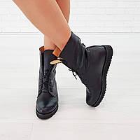 Ботинки из натуральной кожи черного цвета
