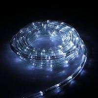 Дюралайт светодиодный, прозрачная трубка с вилкой 10 м, цвет: холодно - белый