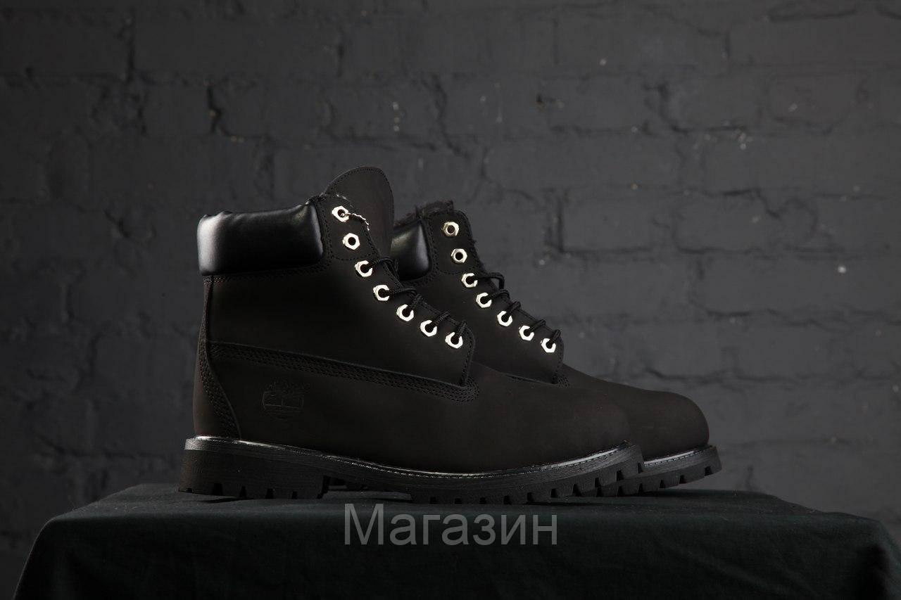 Зимние женские ботинки Timberland 6 Black С МЕХОМ зимние Тимберленд черные