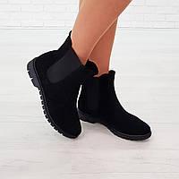 Ботинки челси из натуральной замши черный