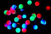 Внутренняя Светодиодная Гирлянда Шарики Новогодняя на Елку1,2 см 28 LED Мульти Провод Белый и Черный