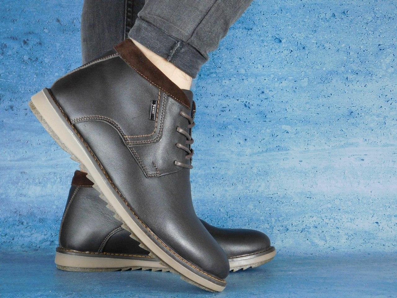 Мужские зимние ботинки Yuves 333 (коричневые), ТОП-реплика