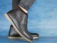 Мужские зимние ботинки Yuves 333 (коричневые), ТОП-реплика, фото 1