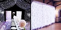 Уличная Светодиодная Гирлянда Штора Мини Новогодняя Занавеска 210 LED Лампочек 5 х 0,8 м Цвет Белый Желтый