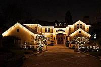 Уличная Светодиодная Гирлянда Штора Мини Новогодняя Занавеска 140 LED Лампочек 3 х 0,8 м Цвет Белый Желтый