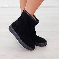 Женские черные маломерные ботинки 39. 40. замшевые угги натуральные Woman's heel на меху с закругленным носком, фото 1