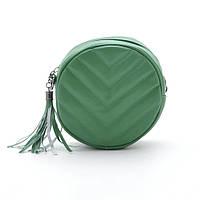 Клатч зеленый круглый с кисточкой