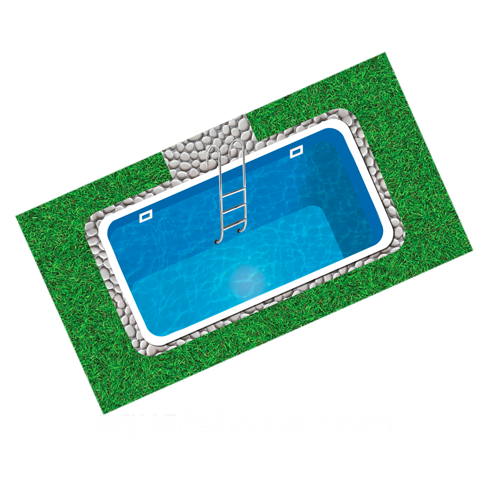 Бассейн пластиковый 3,8 х 2,5 х 1,5 полипропиленовый прямоугольный переливной
