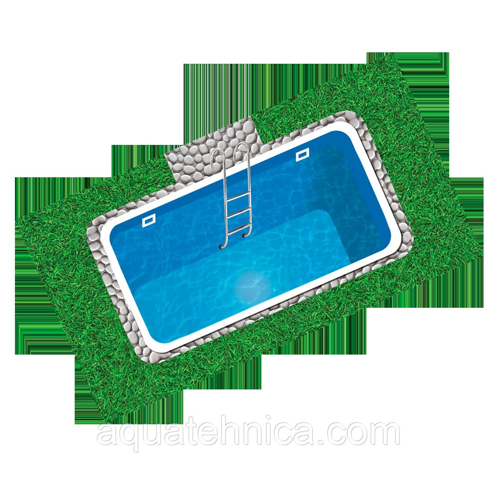 Бассейн пластиковый 7,8 х 3,8 х 1,5 полипропиленовый прямоугольный переливной