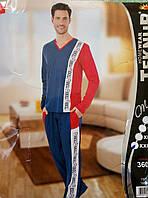 Мужской трикотажный костюм вертикальный принт. Пижама р. 54
