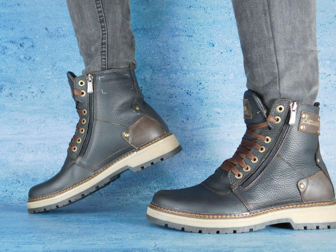 Мужские зимние ботинки Zangak Exclusive (черные), ТОП-реплика