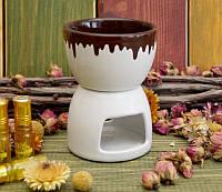 """Аромалампа """"Чаша"""" белая с шоколадом (8х8х11 см)"""
