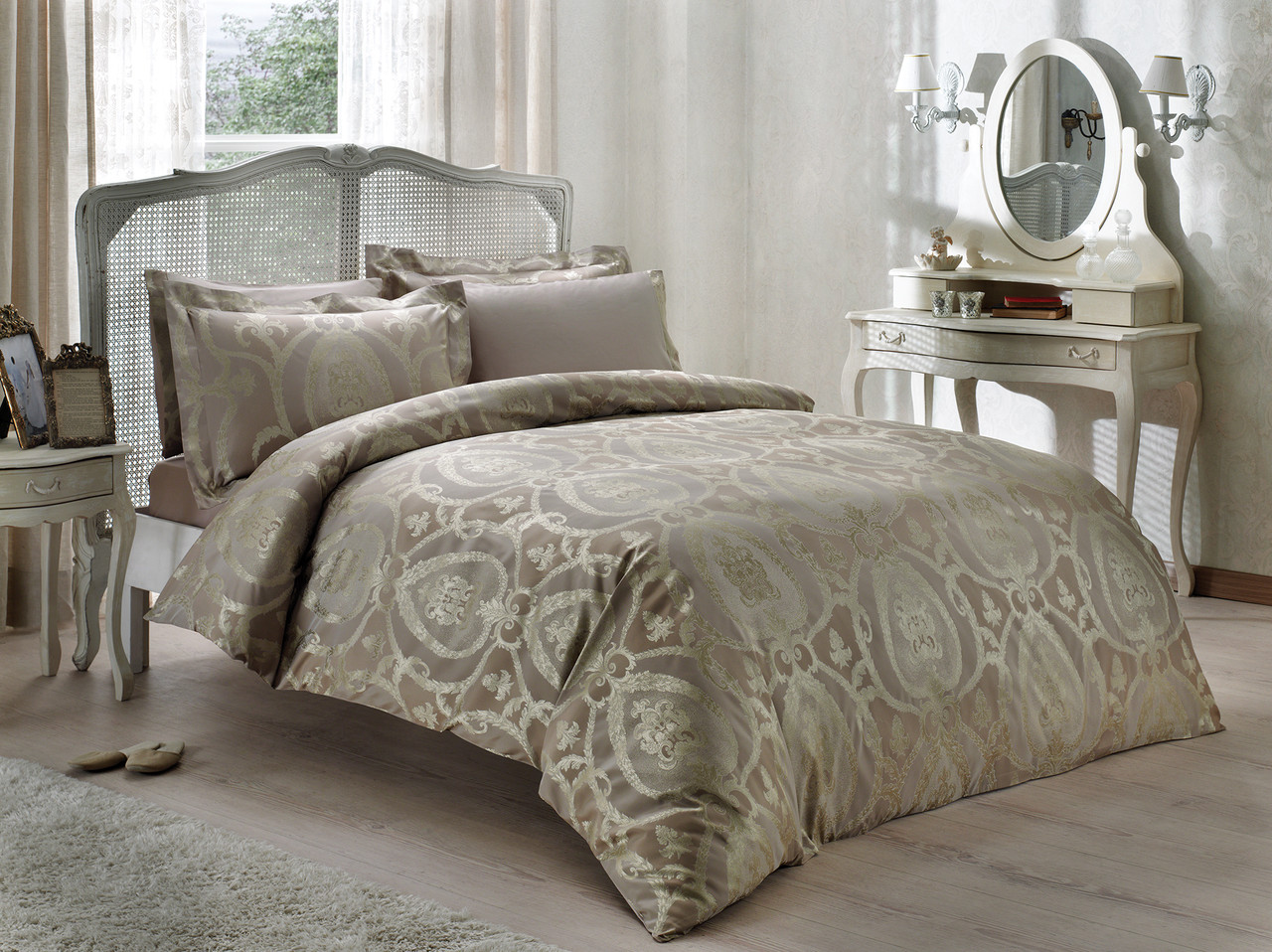 Tivolyo home КПБ NOBILE JACQUARD  евро т.белый