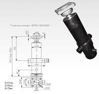 Гидроцилиндр подъема платформы прицепа КАМАЗ  (СЗАП-8543) 3-х штоковый