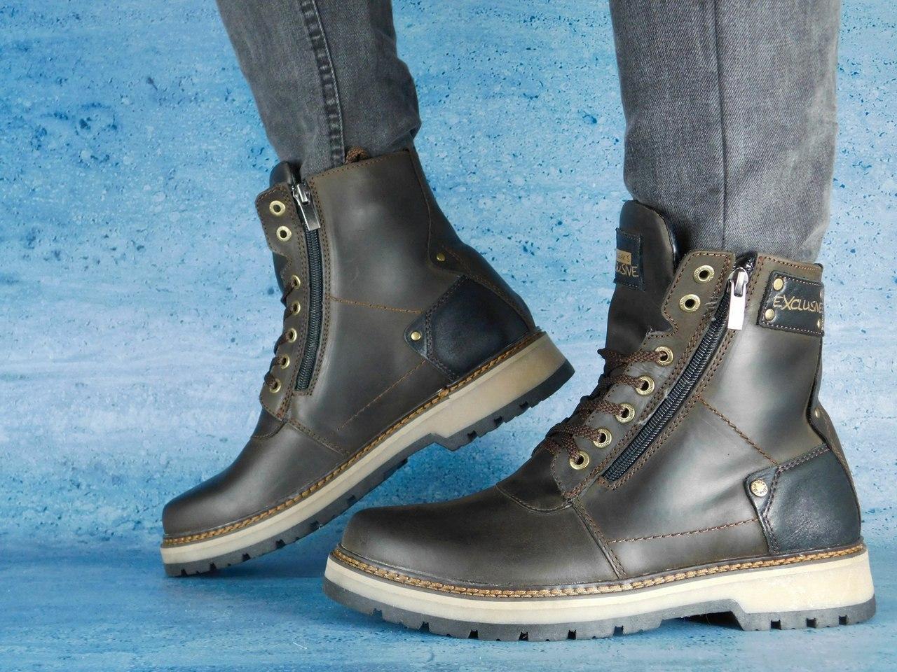 Мужские зимние ботинки Zangak Exclusive (коричневый), ТОП-реплика