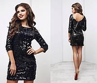 Нарядное женское платья чёрное в пайетках (3 цвета) ТК/-01100