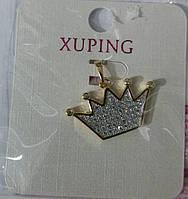 46 Подвеска корона. Позолоченный кулон корона в стразах Xuping.