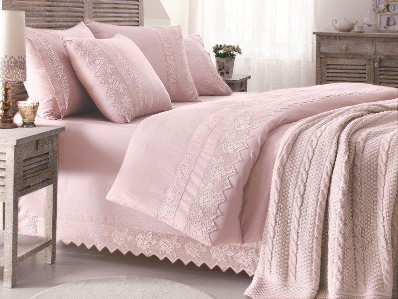 Gelin home КПБ + вязаный плед ERGUVAN евро тёмно-розовый