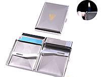 Портсигар в подарочной упаковке с зажигалкой на 20 сигарет (Обычное пламя) №3442-1