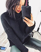 Женский свитер вязанный с широким горлом   цвет Черный