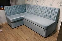 Угловой диван в кухню (голубой)