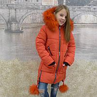 Детская одежда.  Пальто зимнее -Бубенчик(красный)