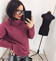 Женский свитер вязанный с широким горлом   цвет Бордо