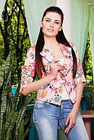 Женский летний короткий персиковый жакет с цветами пиджак Жако