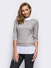 S/44  Кофта с имитацией блузы под джемпером светло-серый меланж