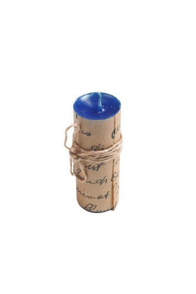 Свеча ручной работы синяя S