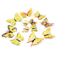 3D бабочки для декорации желтые.