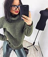 Женский свитер вязанный с широким горлом   цвет  Бутылка