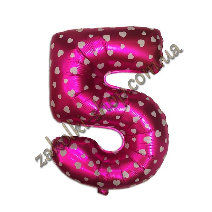 """Фольговані повітряні кулі, цифра """"5"""", розмір 32 дюймів/74 см, колір: рожевий металік з білими сердечками,"""